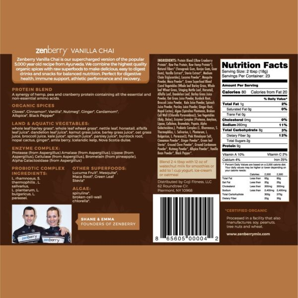 zenberry Vanilla Chai label