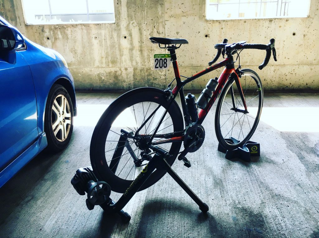 bicycle in a parking garage