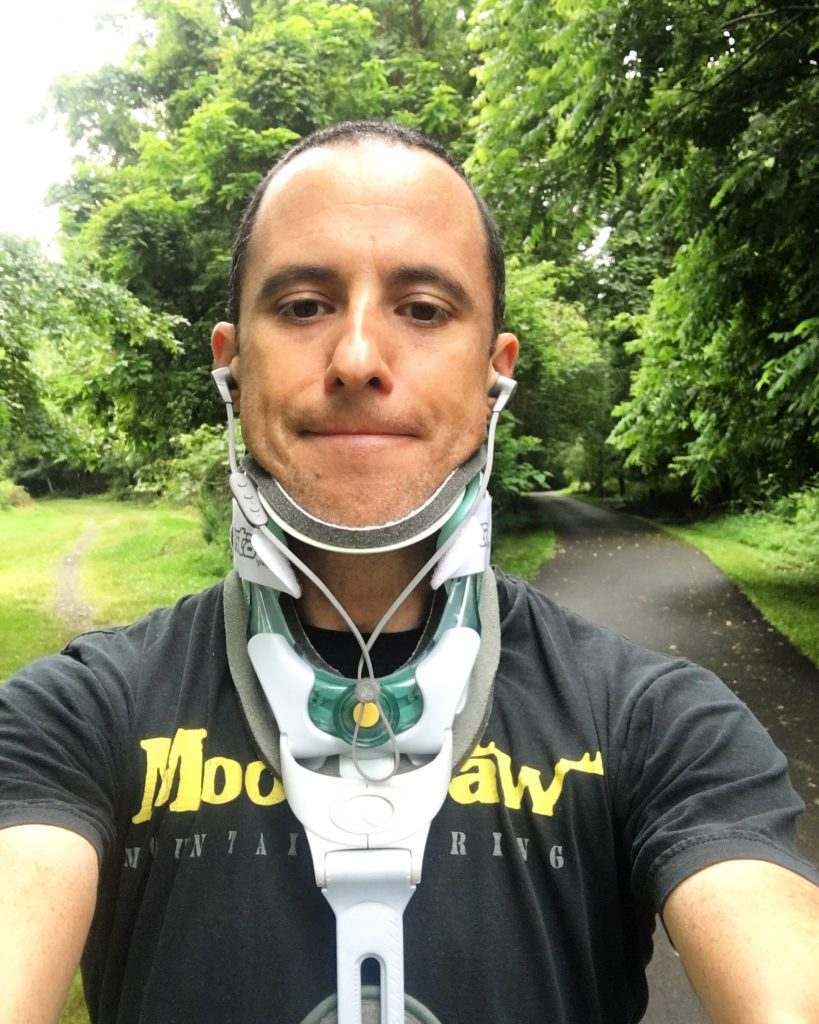 Man in a neck brace
